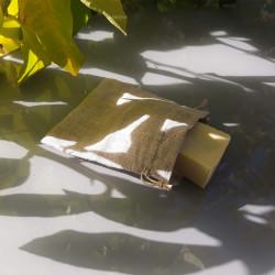 pochette à savon en lin avec savon
