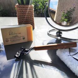 rasoir en bois + savon a froid